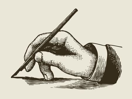 writing letter: vintage writing hand engraved style Illustration