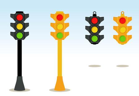 se�ales de transito: Sem�foros establecidos en piso y colgantes