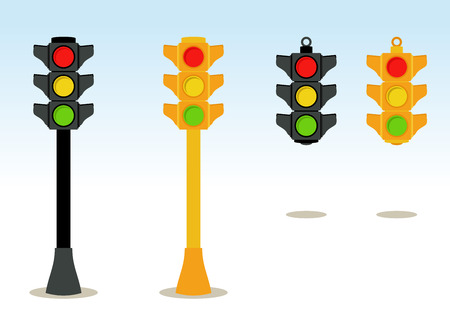 traffic regulation: Traffic lights set in floor and hanging
