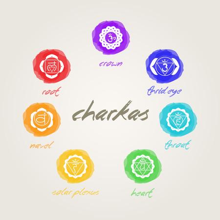 chakras: siete signos chakras en armon�a Vectores