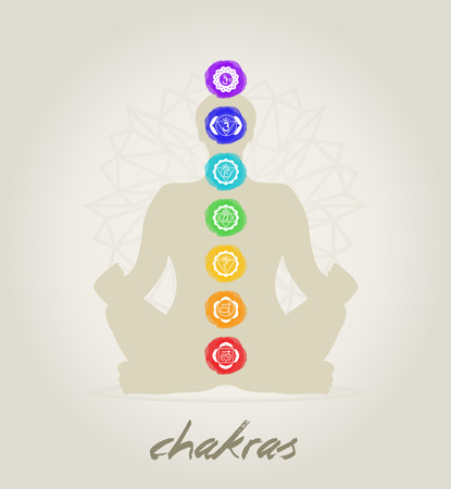 chakra symbols: Meditation body with the seven Chakras