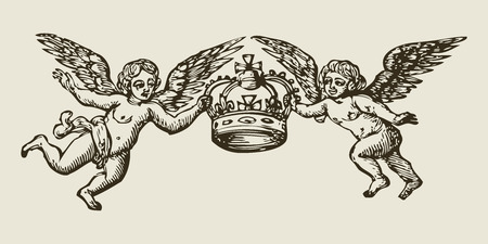 two angels holding a crown