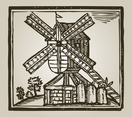 vintage windmill in european country Vectores