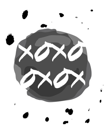 xoxo: monochromatic xoxo drops on ink circle