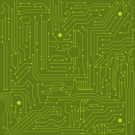 electronic circuit: Green integrated circuit computer world