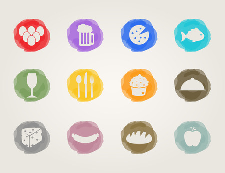deli meat: food deli icons set for restaurant and bar