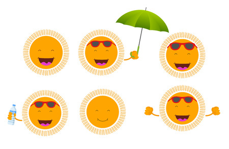 suns: set of six cute smiley suns
