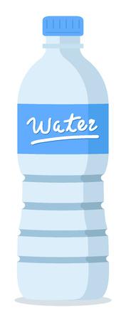 botellas vacias: botella de agua azul de plástico reciclado