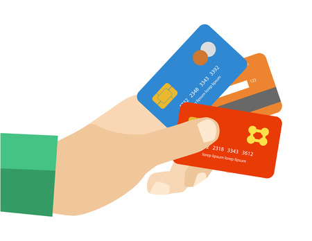hand holding credit cards to pay Vector