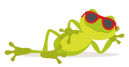 rana caricatura: Lazy relajarse rana tomando el sol con gafas Vectores
