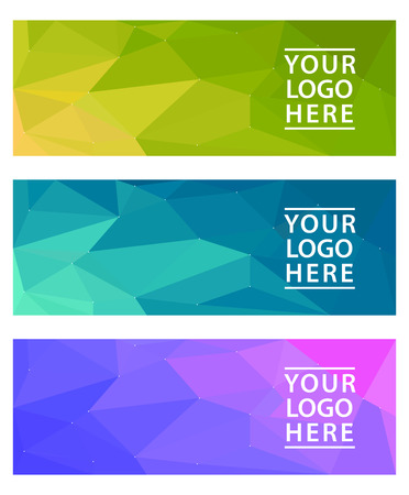 horizontal: color horizontal polygonal banners set Illustration