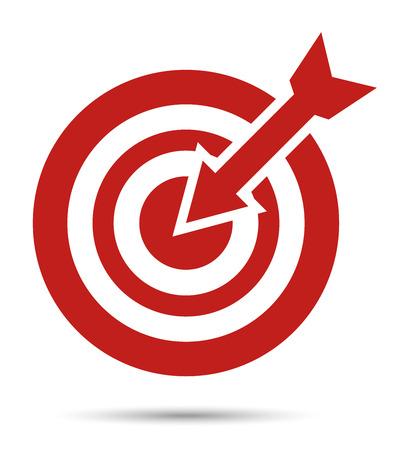 赤いターゲット アイコンの矢印。目的