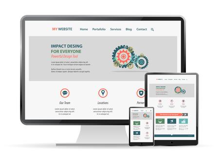 responsive web site  design mockup Vectores