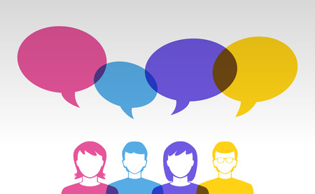 grupos de gente: Iconos de la gente y las burbujas del discurso de colores Vectores