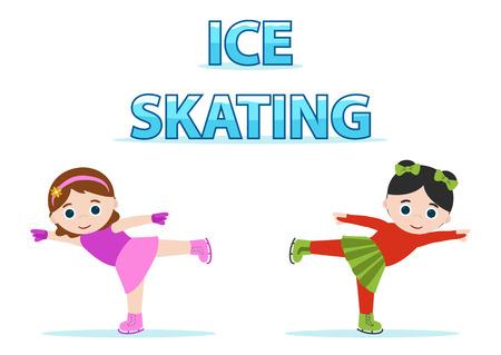 kleine meisjes: schaatsers meisjes, koud sport Stock Illustratie