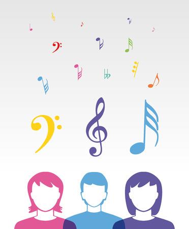 la escucha activa: gente de la música de color escuchando canciones