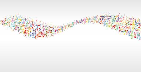 simbolos musicales: la m�sica del color de la bandera de la onda con las notas Vectores