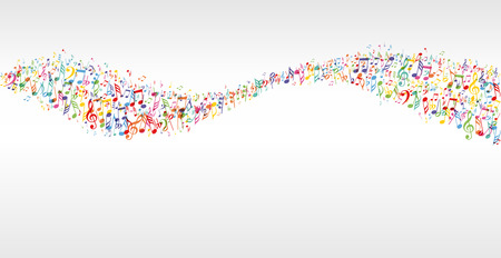 musical notes background: music color wave banner with notes