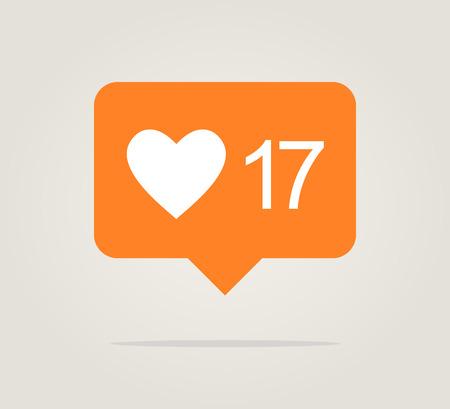 orange like notification for web Ilustrace