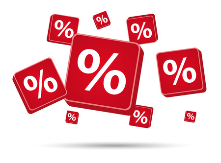 cent: per cent signs in red color