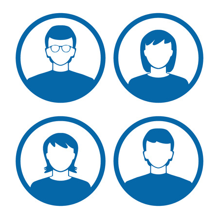 team group: users profile silhouettes avatars in blue