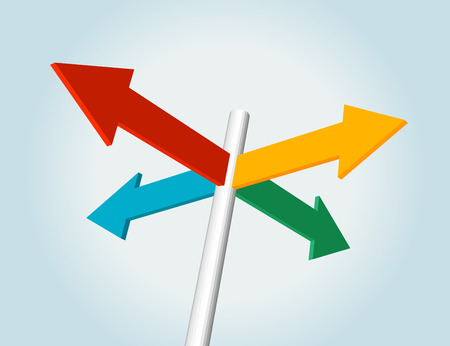 color choice: color direction arrow sign, choice concept