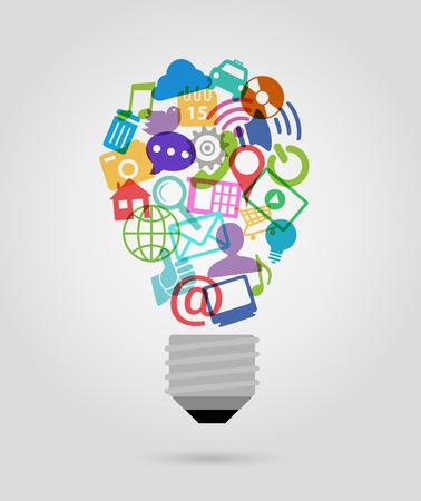 Network marketing: color Iconos de los medios de comunicaci�n social, la forma de bulbo