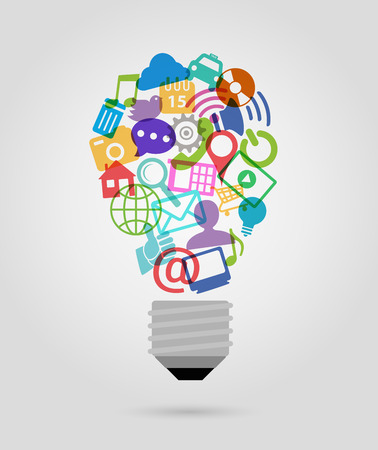 network and media: color social media icons,  bulb shape Illustration