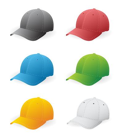 baseball caps: Set of six baseball caps in color