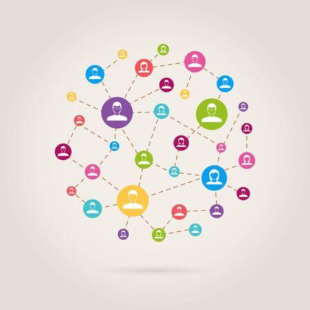 link work: people link in social network Illustration