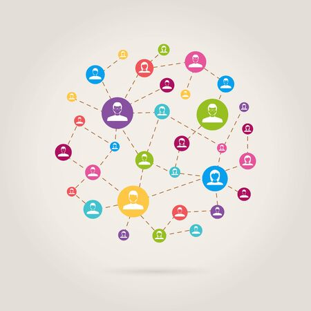 people link in social network Illustration