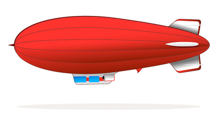 airplane engine: big retro red blimp flying
