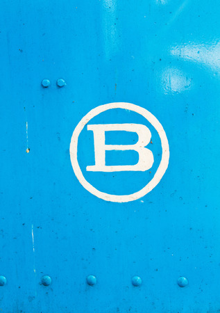 colorful paint: b letter in blue metal