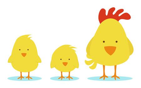두 개의 작은 병아리와 암 탉 어머니 일러스트