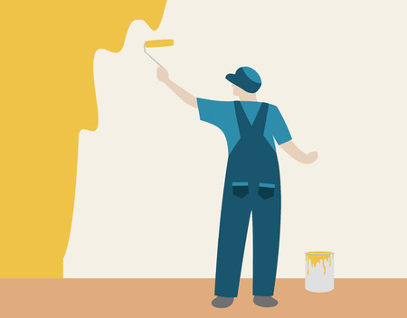 man painting: Person painting a color wall in house Illustration