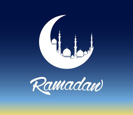 Ramadan moon with beautiful mosque Ilustração