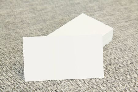 identity card: Business cards left side stacked Stock Photo