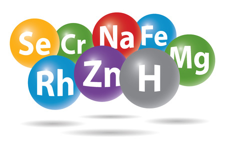 chemistry elements in color spheres Ilustrace