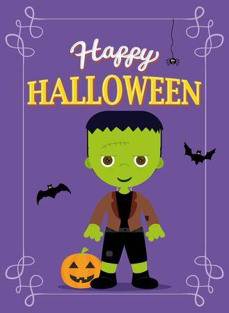 Cartel de Halloween Costume Frankestein, Color Purple