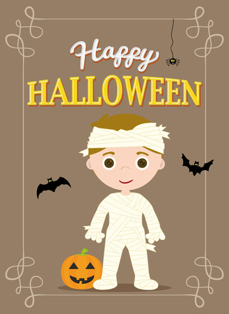 halloween poster: Halloween Poster Mummy Costume, Brown Color