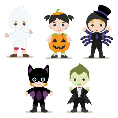 halloween spider: Five Halloween Kids with Costumes