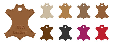 leather: Leather Tags Set with Colors Illustration