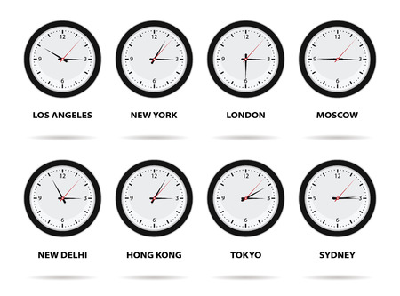 timezone: Time Zone World, eight different cities