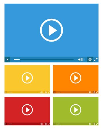 set of web video players in five colors 일러스트