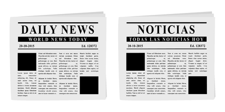 english: Newspapers front pages in English and Spanish