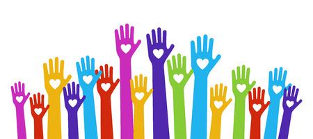 corazon en la mano: manos aman colores sosteniendo corazones