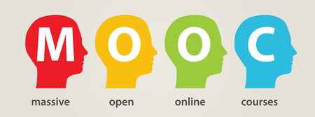 Mooc hoofden, Massive Open Online Courses Stock Illustratie