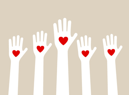 hands raising love with heart