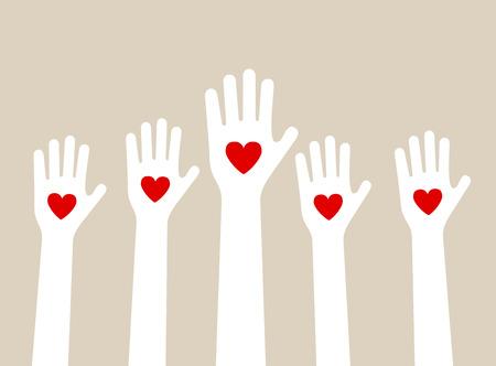 personas reunidas: levantando las manos el amor con el corazón