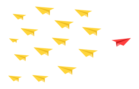 disruptive color paper planes concept